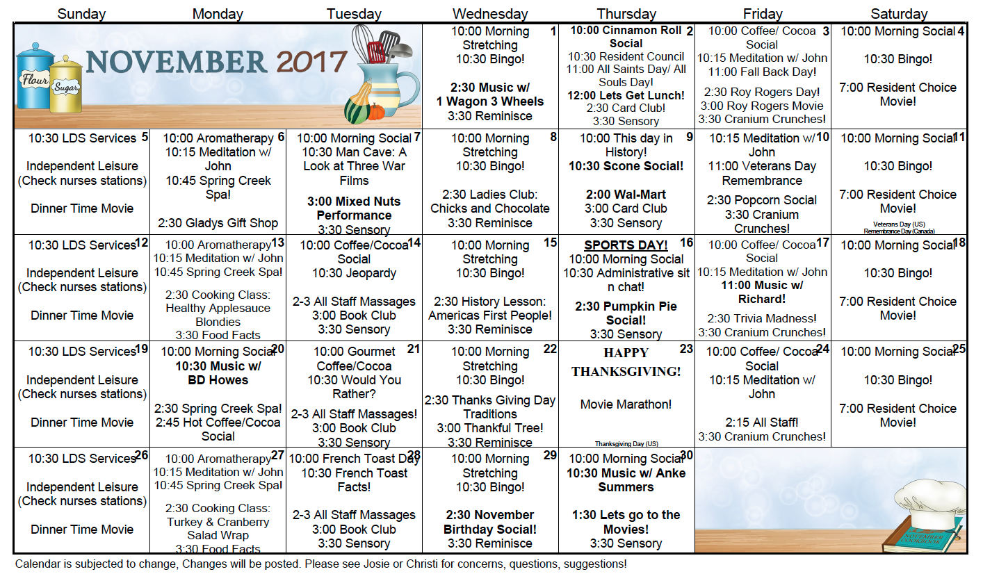 Spring Creek November activity calendar 2017