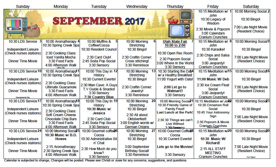 Spring Creek September activity calendar