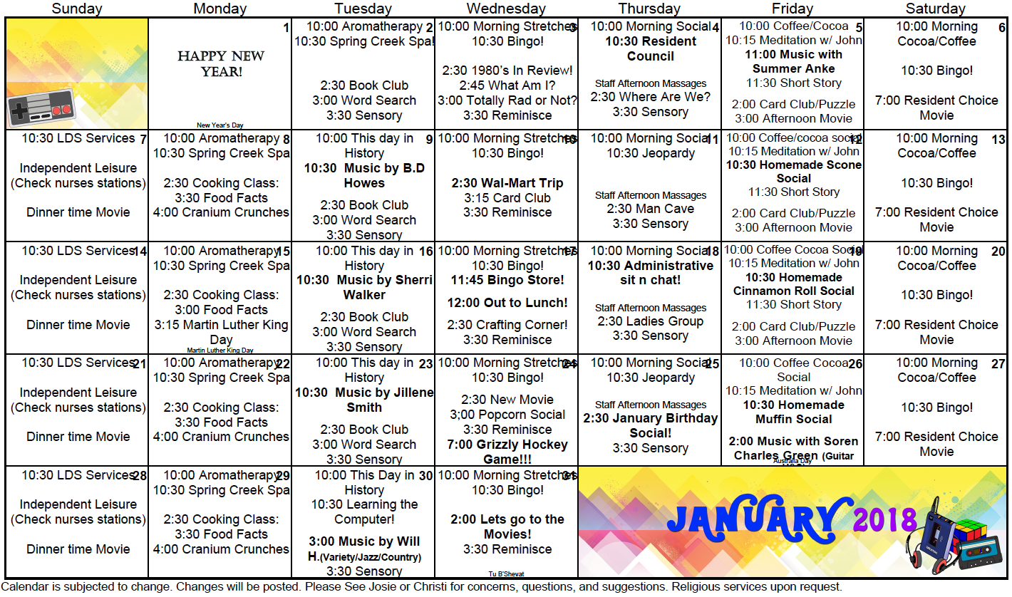 Spring Creek January activity calendar