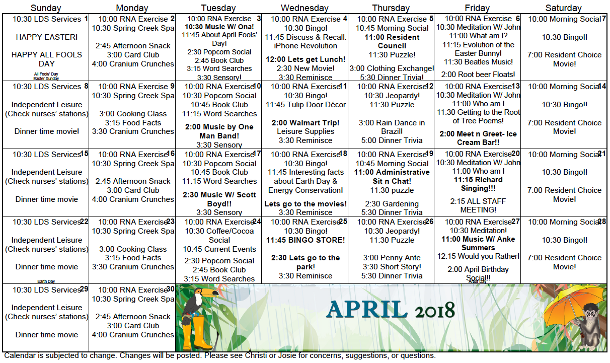 Spring Creek April calendar