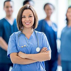nurse short dark hair and a stethoscope