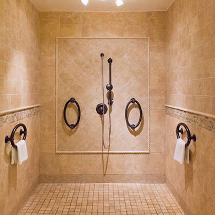 fancy tiled interior of the shower