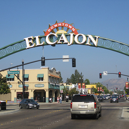 downtown el cajon sign on the street