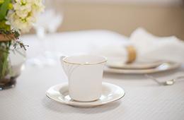 a teacup on a saucer
