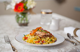 fried rice with chicken on nice table setting