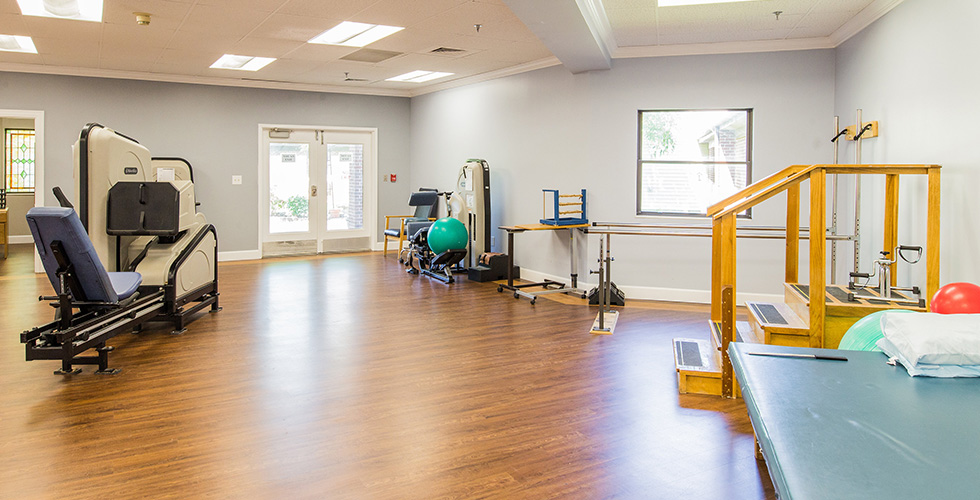 plentiful exercise equipment in the therapy room