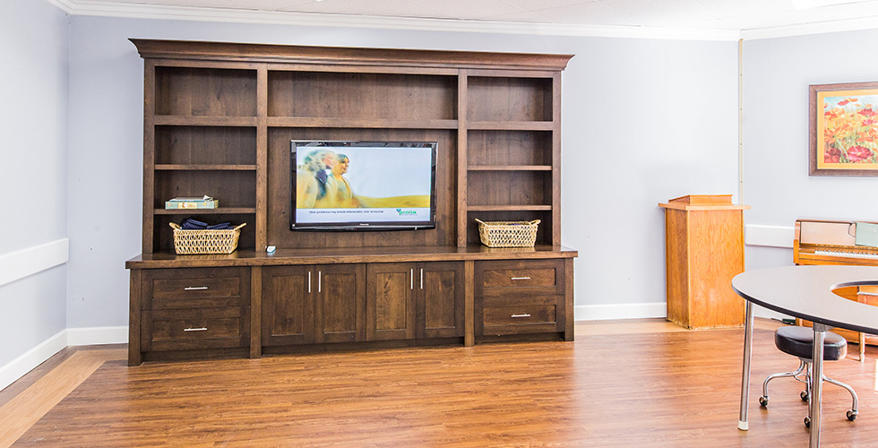 TV and entertainment center in the recreation room