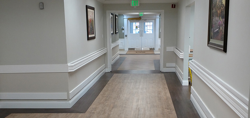 Long clean hallway with secure doors