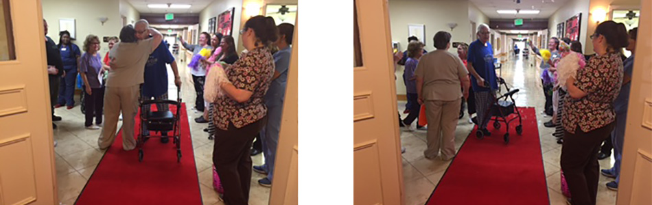 "staff and residents hugging and cheering for the ""red carpet"" successful discharge"