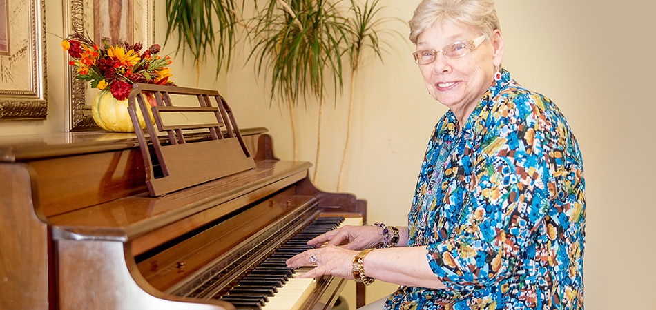 resident playing the piano