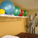 exercise balls and weight machine
