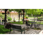 outdoor seating area with shade trees and potted plants