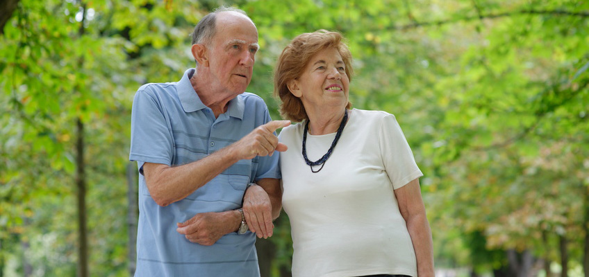 an elderly man is pointing something out to a woman on a walk outside among the trees