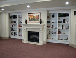 Bexton fireplace surrounded by book shelves and pretty artwork