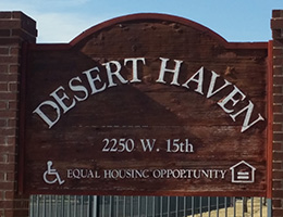 Desert Haven wooden sign