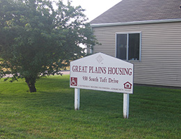 Great Plains Housing sign in front of the community