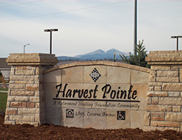 Harvest Pointe sign made out of stone out front