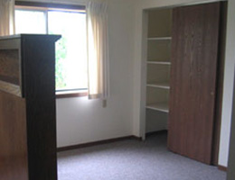 Apartment bedroom closet area with shelving units, clean carpet and windows with the sun shining through