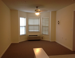 Living room area with carpet and windows