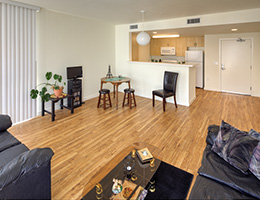Las Alturas resident kitchen and living area