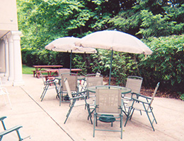 Marymount Manor outdoor seating area