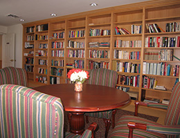 library area with seating and flower centerpiece