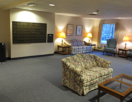 lobby area with carpeting, sofas and nice lighting