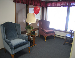 Pioneer Manor lobby area with seating