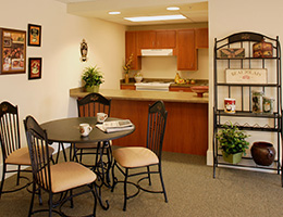 Providence Place common area kitchenette and bistro table