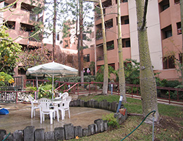 Sangnok outdoor patio table underneath mature trees