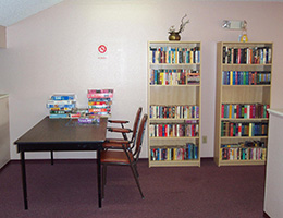 South Pointe recreation room with books and games