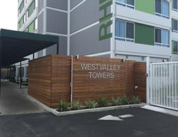 West Valley Towers wooden sign