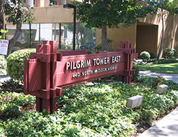 Pilgrim East wooden sign