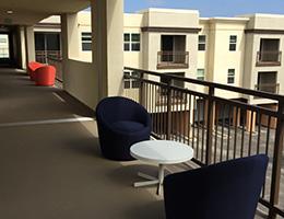 Sonata Riverpark balcony with tables