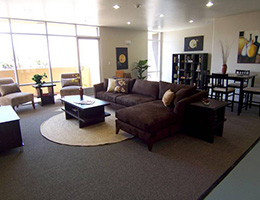 Carondelet Court lounge area with large sectional couch