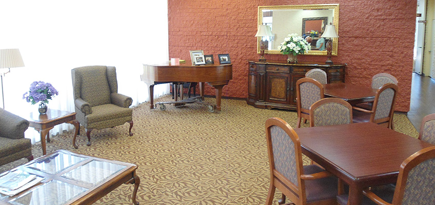 RHF Bixby Knolls nicely appointed recreation room with grand piano