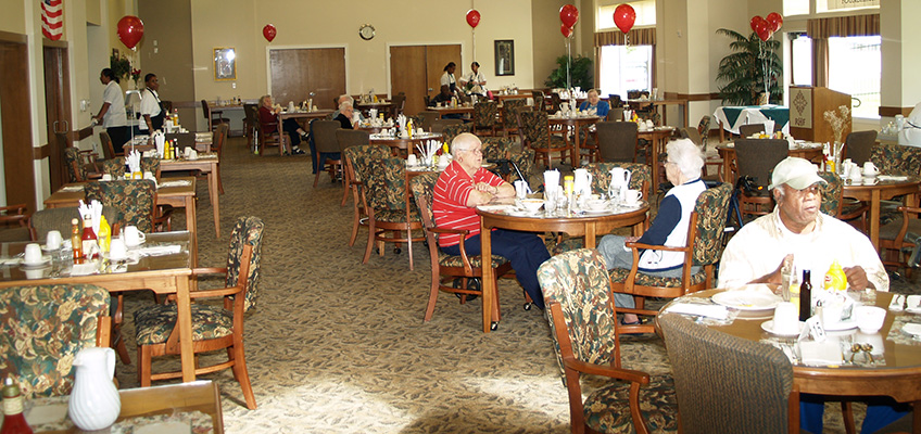 Park Place dining room with red balloons