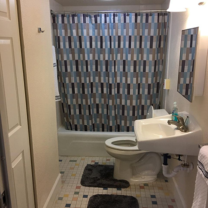 Restroom with sink, toilet and shower area