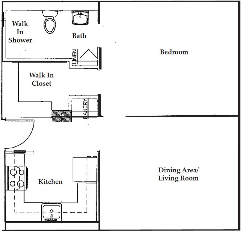 Apartment floor plan one bedroom / one bathroom.