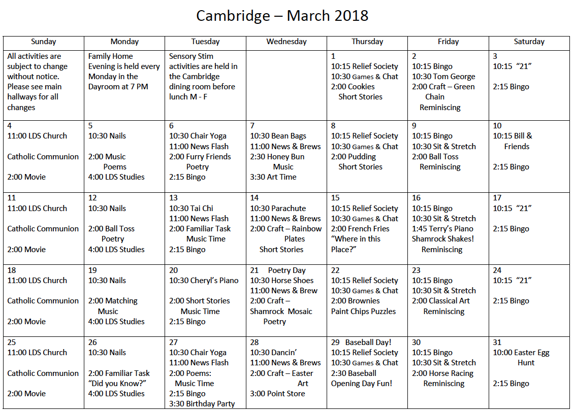 South Ogden Cambridge March activity calendar