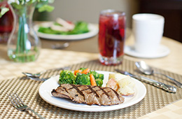 steak and vegetables on a plate for dinner