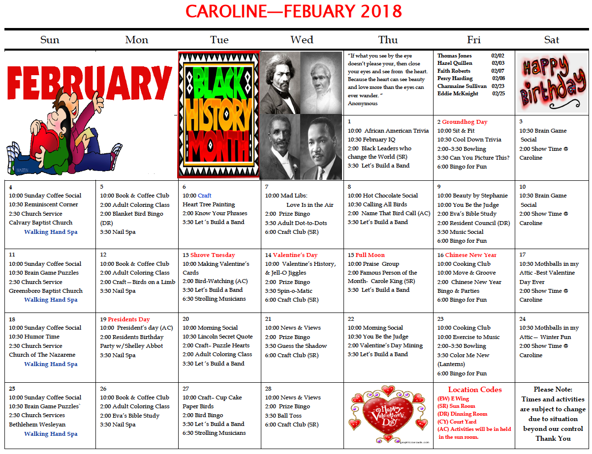 Caroline February activity calendar