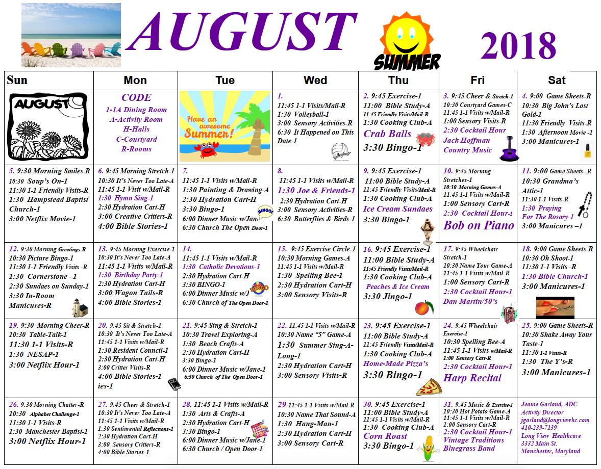 Long View August calendar
